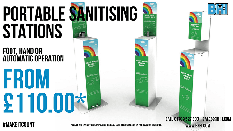 Portable hand sanitising stations for the UK - Hand pump, foot pump & automatic sanitizing dispensers
